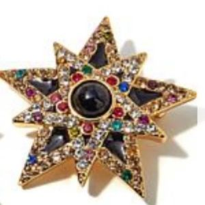 Jay Strongwater Enamel Crystal Accent Star Pin